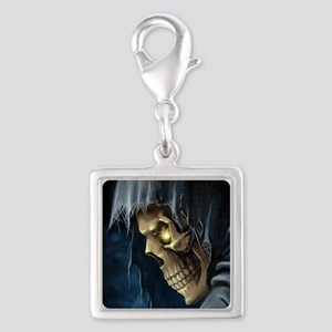 Grim Reaper Silver Square Charm