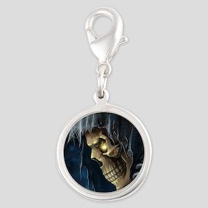 Grim Reaper Silver Round Charm