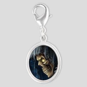 Grim Reaper Silver Oval Charm