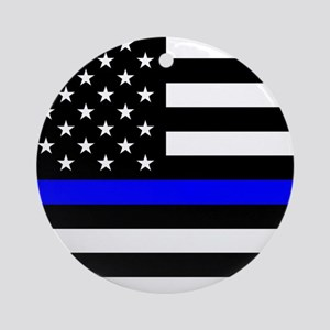 Police: Black Flag & The Thin Blue Line Round Orna