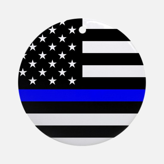 Police: Black Flag & The Thin Blue Line Round Orna