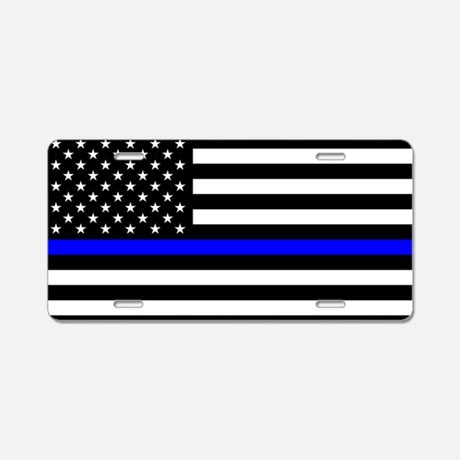 Police Flag Aluminum License Plate