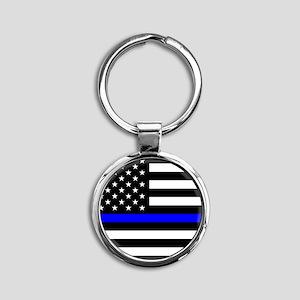 Police: Black Flag & The Thin Blue Line Keychains