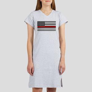 Firefighter: Black Flag & Red L Women's Nightshirt