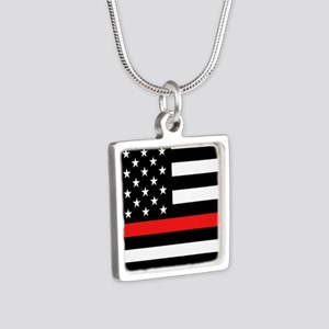 Firefighter: Black Flag & Silver Square Necklace