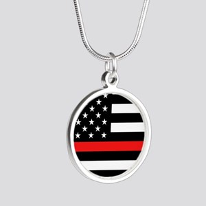 Firefighter: Black Flag & Re Silver Round Necklace