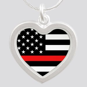 Firefighter: Black Flag & Re Silver Heart Necklace