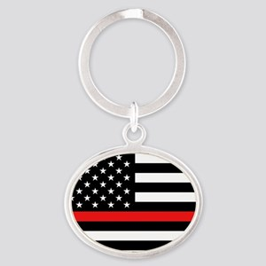 Firefighter: Black Flag & Red Line Oval Keychain