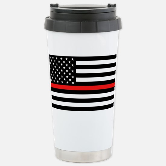 Firefighter: Black Flag Stainless Steel Travel Mug