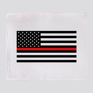 Firefighter: Black Flag & Red Line Throw Blanket