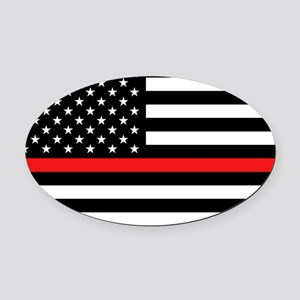 Firefighter: Black Flag & Red Line Oval Car Magnet
