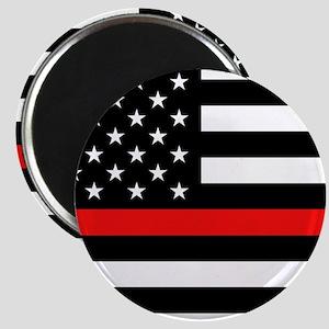 Firefighter: Black Flag & Red Line Magnet