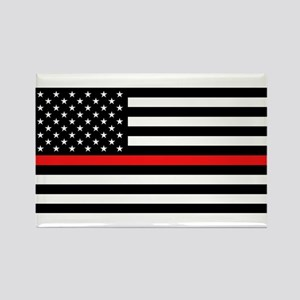 Firefighter: Black Flag & Red Lin Rectangle Magnet