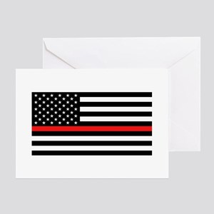 Firefighter: Black Flag & Red Line Greeting Card