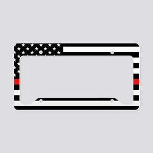 Firefighter: Black Flag & Red License Plate Holder