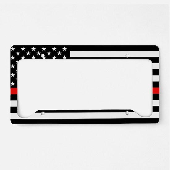 Firefighter: Black Flag & Red License Plate Holder