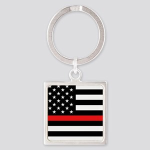 Firefighter: Black Flag & Red Line Square Keychain
