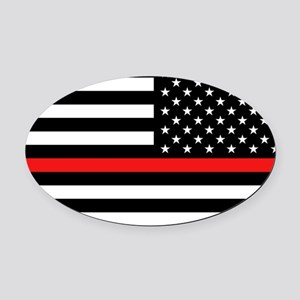 Firefighter: Reverse Black Flag & Oval Car Magnet
