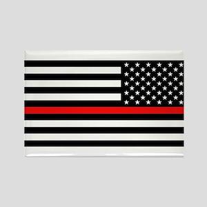 Firefighter: Reverse Black Flag & Rectangle Magnet