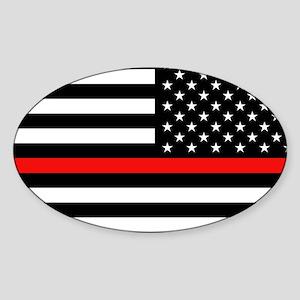 Firefighter: Reverse Black Flag & R Sticker (Oval)