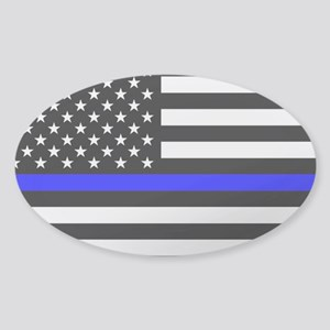 Police: Clear Black Flag & Thin Blu Sticker (Oval)