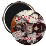 Meowy Christmas Magnet