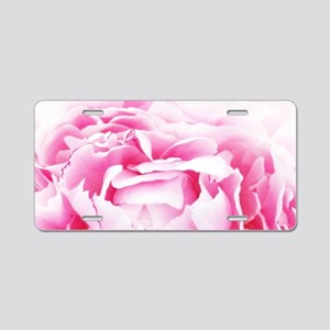 chic floral pink peony Aluminum License Plate