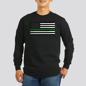 U.S. Flag: The Thin Green Long Sleeve Dark T-Shirt