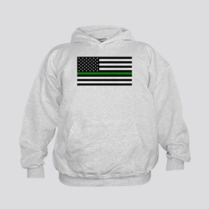 U.S. Flag: The Thin Green Line Kids Hoodie