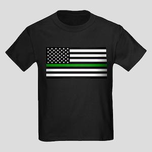 U.S. Flag: The Thin Green Line Kids Dark T-Shirt
