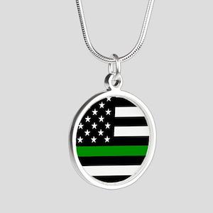 U.S. Flag: The Thin Green Li Silver Round Necklace