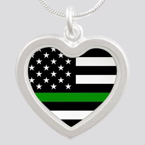 U.S. Flag: The Thin Green Li Silver Heart Necklace