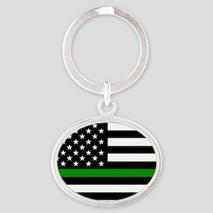 U.S. Flag: The Thin Green Line Oval Keychain
