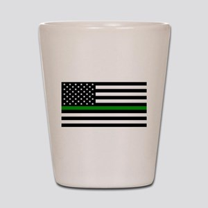 U.S. Flag: The Thin Green Line Shot Glass