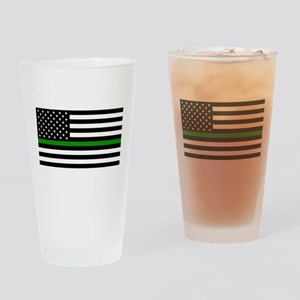 U.S. Flag: The Thin Green Line Drinking Glass
