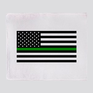 U.S. Flag: The Thin Green Line Throw Blanket