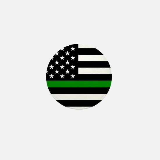 U.S. Flag: The Thin Green Line Mini Button