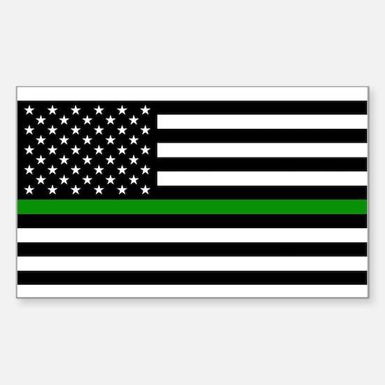 U.S. Flag: The Thin Green Line Sticker (Rectangle)