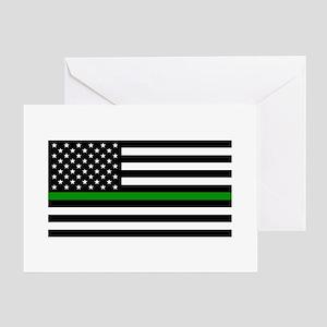 U.S. Flag: The Thin Green Line Greeting Card
