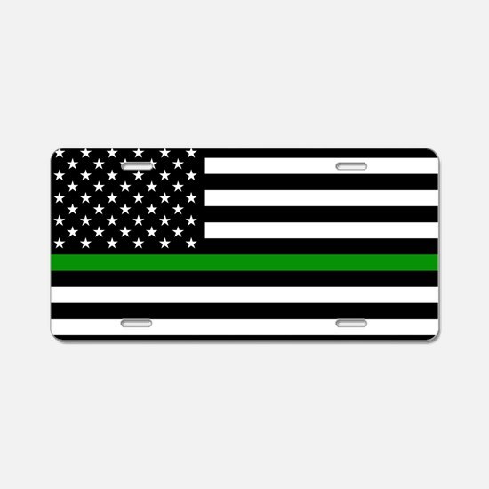 U.S. Flag: The Thin Green L Aluminum License Plate