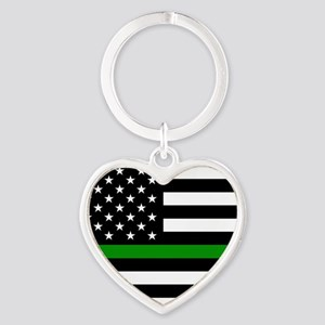 U.S. Flag: The Thin Green Line Heart Keychain