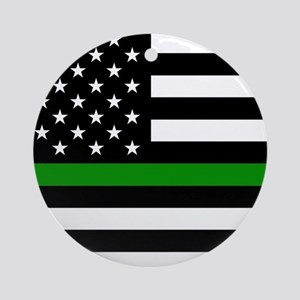 U.S. Flag: The Thin Green Line Round Ornament
