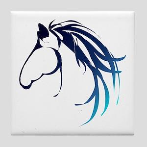 Classic Blue Horse Head Logo Tile Coaster