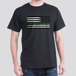 U.S. Flag: The Thin Green Line (Rever Dark T-Shirt