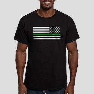 U.S. Flag: The Thin Gr Men's Fitted T-Shirt (dark)