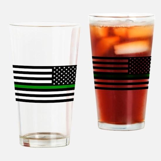 U.S. Flag: The Thin Green Line (Rev Drinking Glass