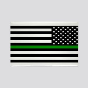 U.S. Flag: The Thin Green Line (R Rectangle Magnet