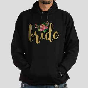 Gold Glitter Bride text floral accen Hoodie (dark)
