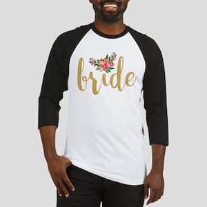 Gold Glitter Bride text floral acc Baseball Jersey