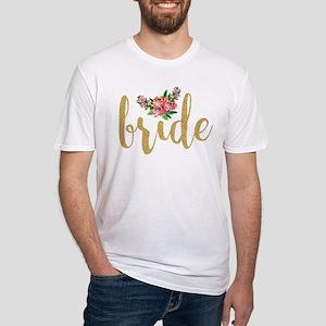Gold Glitter Bride text floral accent T-Shirt